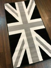 Rugs Aprox 4x2 60cmx110cm Union Jack Mat-Rugs Woven Backed Black-Grey-Creams